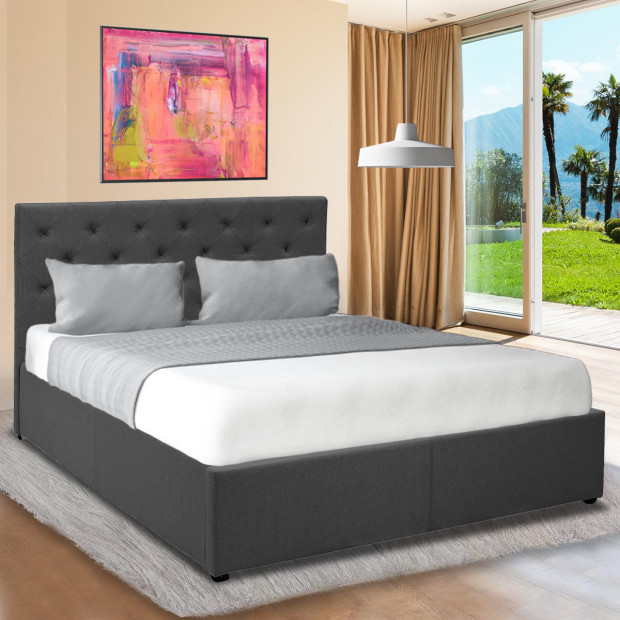 King Fabric Gas Lift Bed Frame with Headboard - Dark Grey Image 2