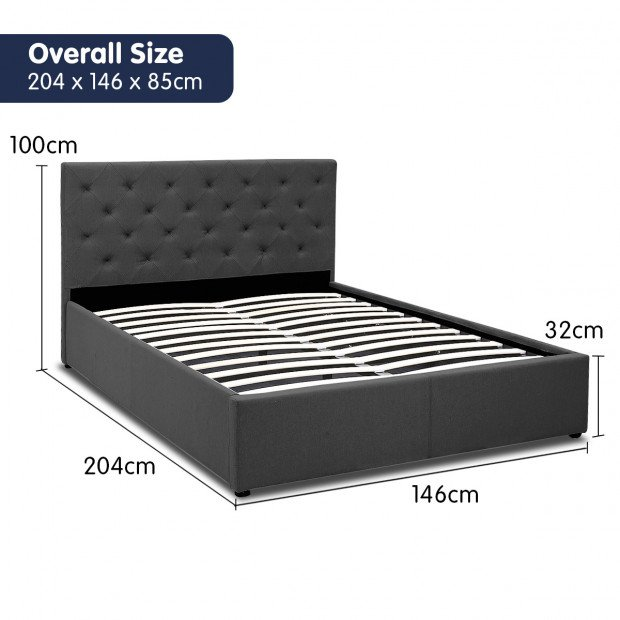 Double Fabric Gas Lift Bed Frame with Headboard - Dark Grey Image 9