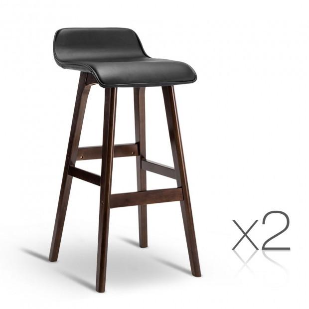 Set of 2 PU Leather and Wood Bar Stool - Black