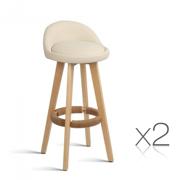 Set of 2 PU Leather  Dining Chair - Beige