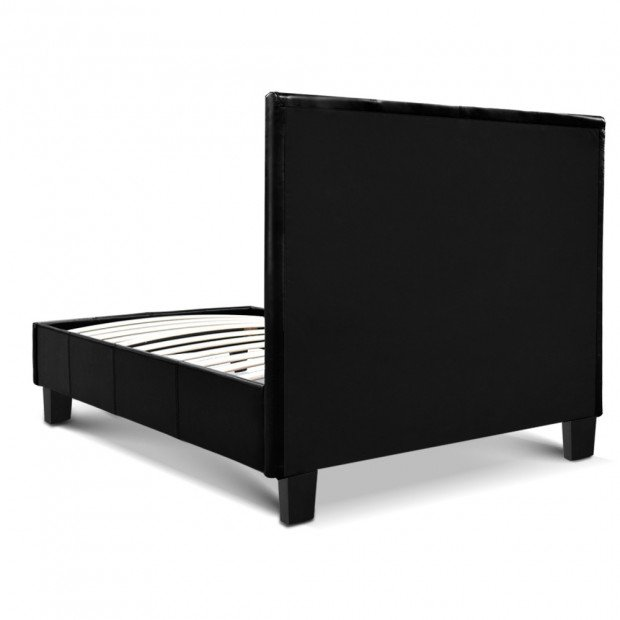 Single Size PU Leather Bed Frame Headboard - Black Image 5