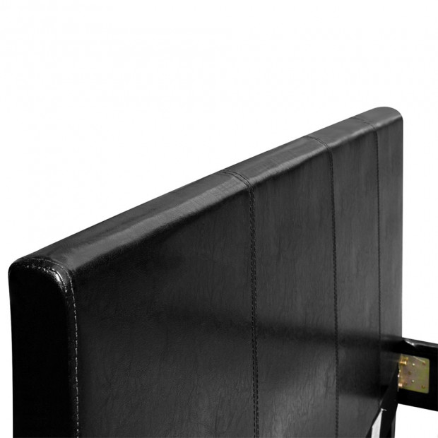 Single Size PU Leather Bed Frame Headboard - Black Image 6