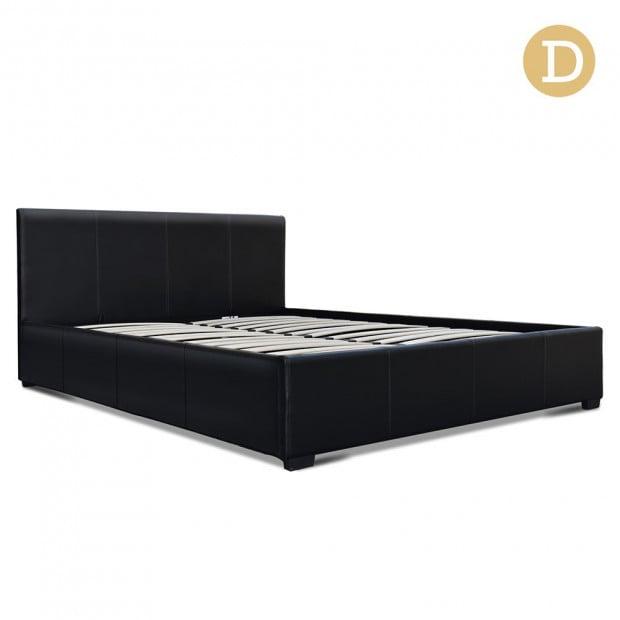 Double Size PU Leather and Wood Bed Frame Headborad - Black