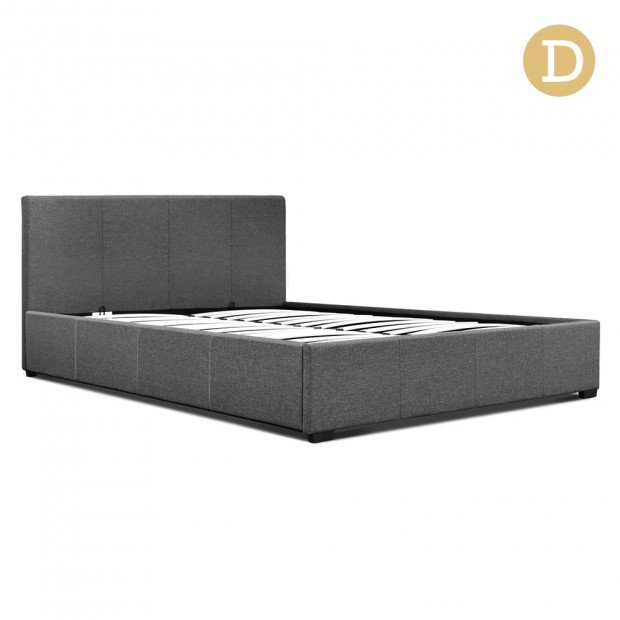 Double Size Fabric and Wood Bed Frame Headborad - Grey Image 1
