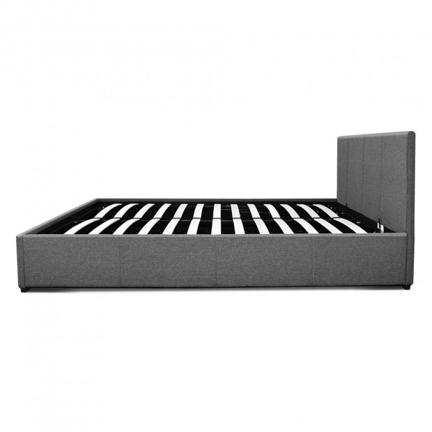 Double Size Fabric and Wood Bed Frame Headborad - Grey Image 4