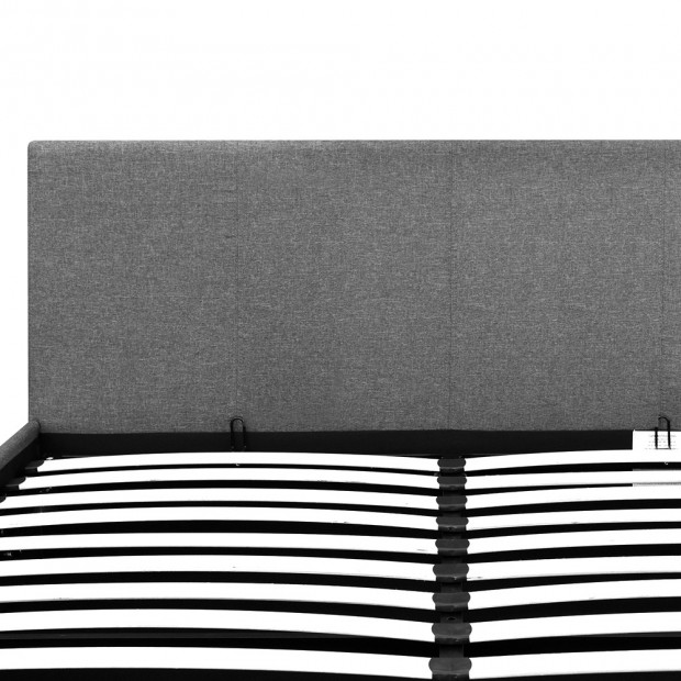 Double Size Fabric and Wood Bed Frame Headborad - Grey Image 5