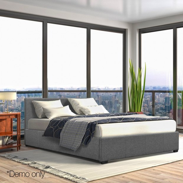 Double Size Fabric and Wood Bed Frame Headborad - Grey Image 8