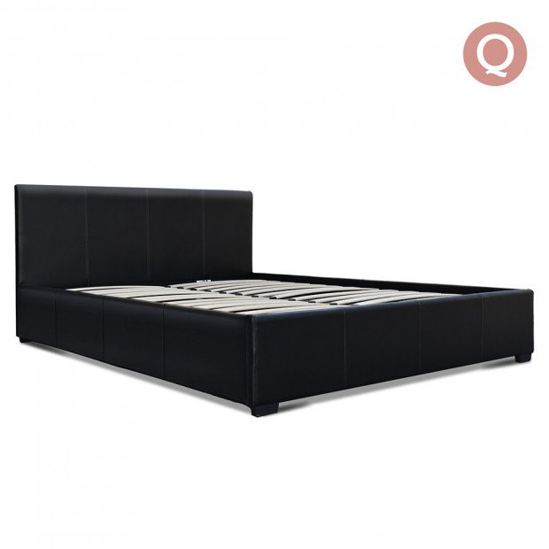 Queen Size PU Leather and Wood Bed Frame Headborad - Black Image 1
