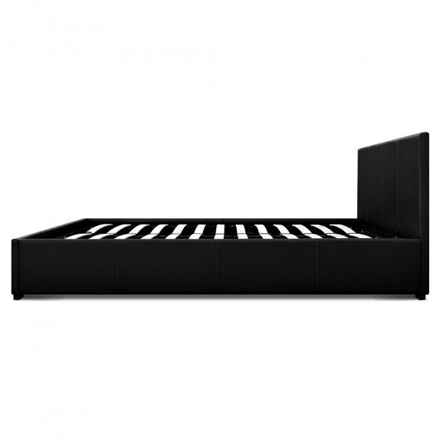 Queen Size PU Leather and Wood Bed Frame Headborad - Black Image 4