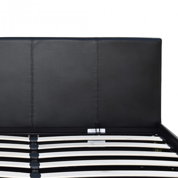 Queen Size PU Leather and Wood Bed Frame Headborad - Black Image 6