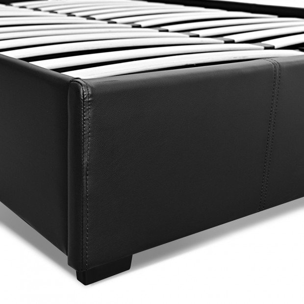 Queen Size PU Leather and Wood Bed Frame Headborad - Black Image 7