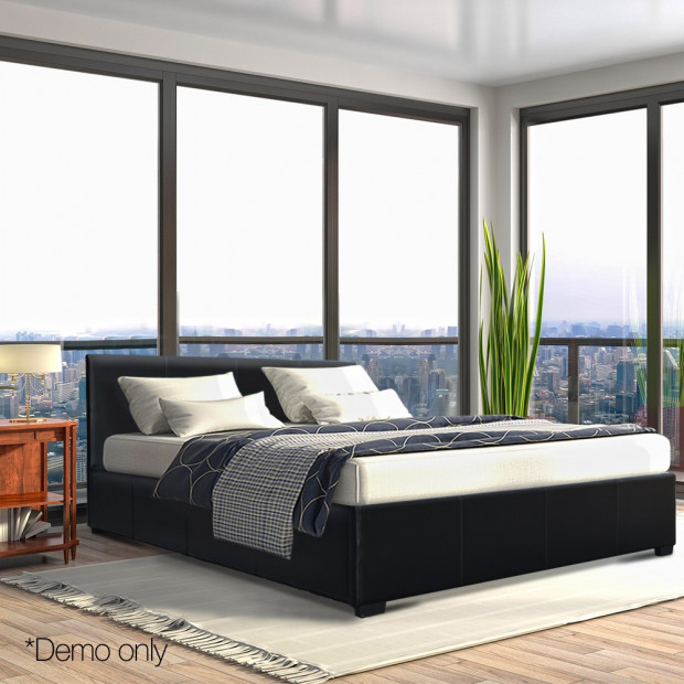 Queen Size PU Leather and Wood Bed Frame Headborad - Black Image 10
