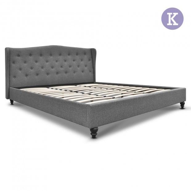 King Size Wooden Upholstered Bed Frame Headborad - Grey