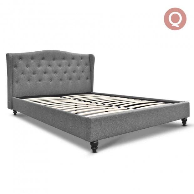 Queen Size Wooden Upholstered Bed Frame Headborad - Grey