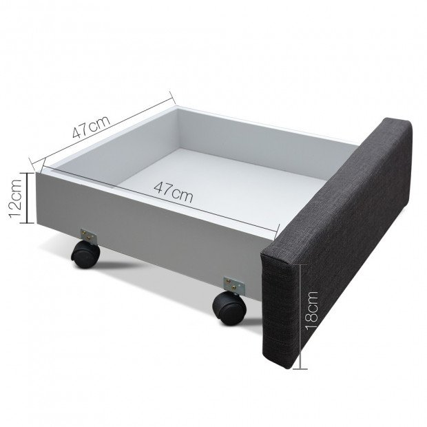 Double Size Fabric Bed Frame Headboard with Drawers  - Charcoal Image 2