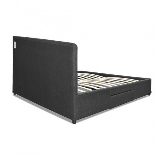Double Size Fabric Bed Frame Headboard with Drawers  - Charcoal Image 5