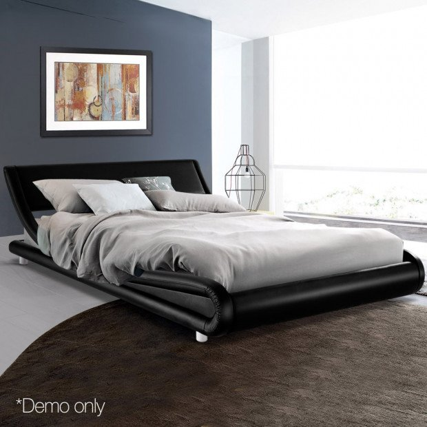 Queen Size PU Leather Bed Frame - Black Image 8