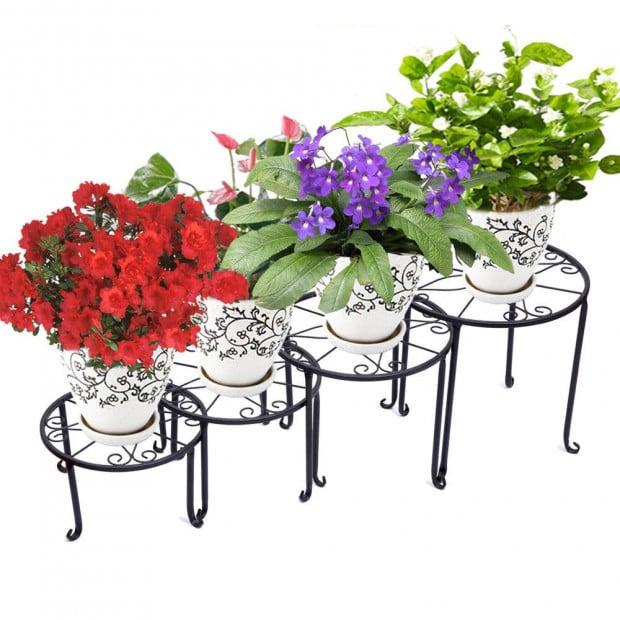 4x Metal Outdoor Indoor Pot Plant Stand Garden Decor Black