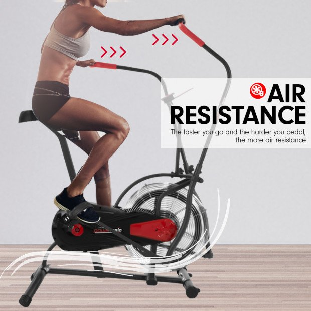 PowerTrain Air Resistance Exercise Bike Spin Fan Equipment Cardio Image 5