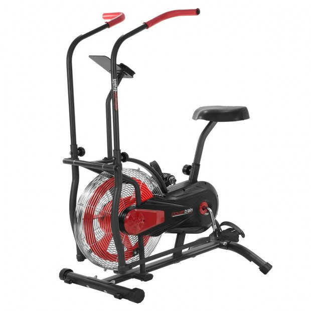 PowerTrain Air Resistance Exercise Bike Spin Fan Equipment Cardio - Red