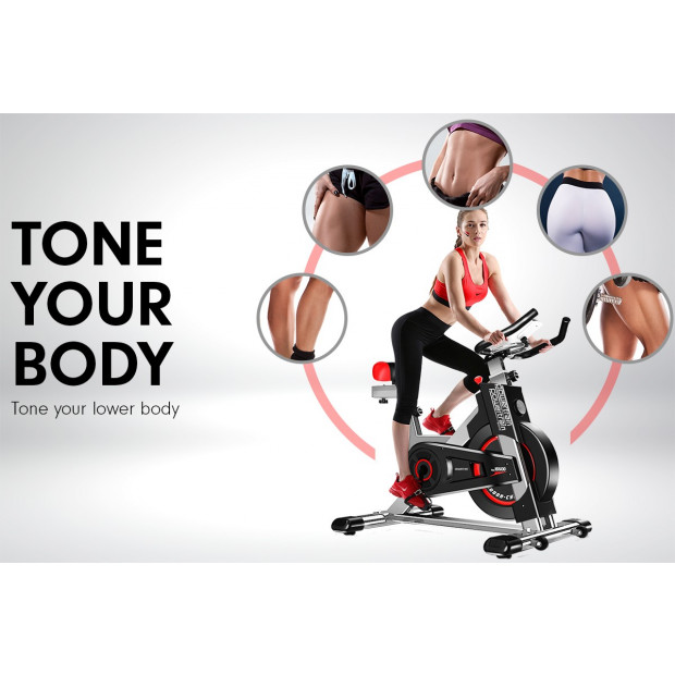 Powertrain Heavy Duty Exercise Spin Bike Electroplated IS-500 - Silver Image 9