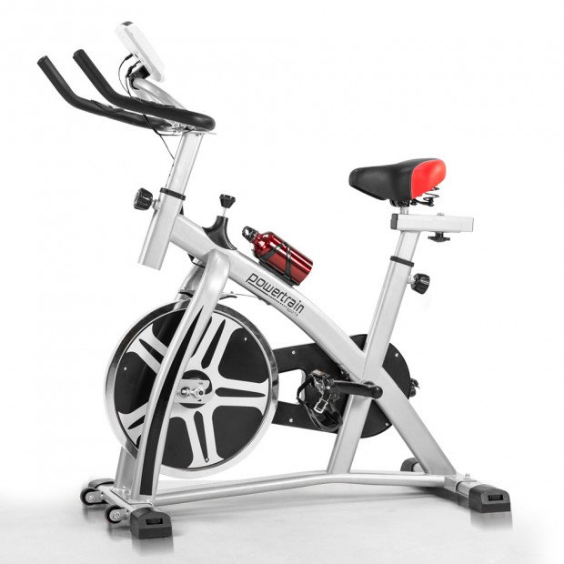 Powertrain XJ-91 Home Gym Flywheel Exercise Spin Bike - Silver