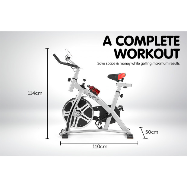 Powertrain XJ-91 Home Gym Flywheel Exercise Spin Bike - Silver Image 7