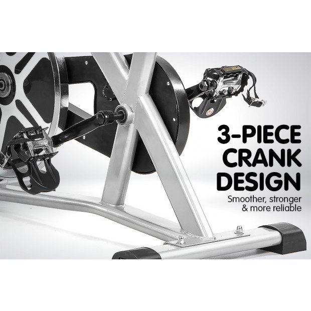 Powertrain XJ-91 Home Gym Flywheel Exercise Spin Bike - Silver Image 5