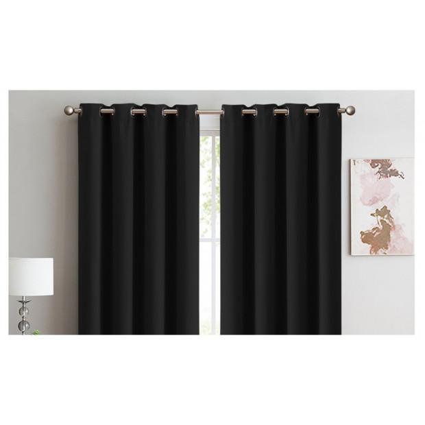 2x 100% Blockout Curtains Panels 3 Layers Eyelet Black 300x230cm