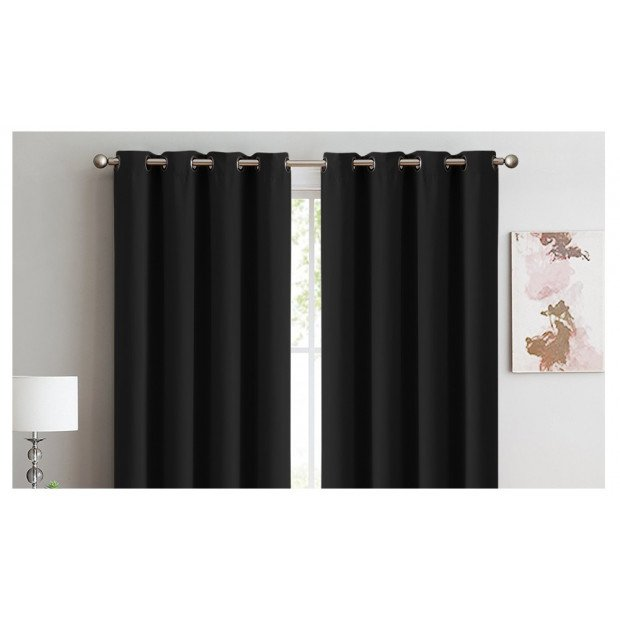 2x 100% Blockout Curtains Panels 3 Layers Eyelet Black 240x230cm Image 1