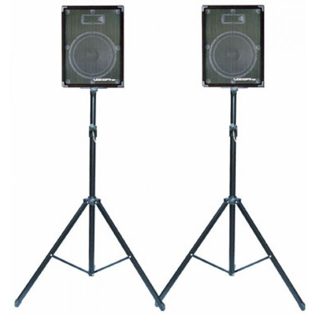 Pair adjustable tripod PA speaker stands Image 5