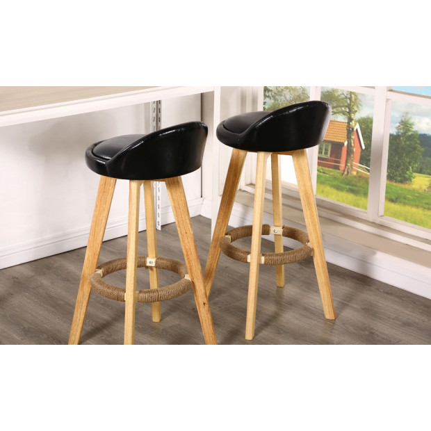 2 x Wooden Bar Stools Swivel Leather Seat Dining Chairs Kitchen Black Image 2