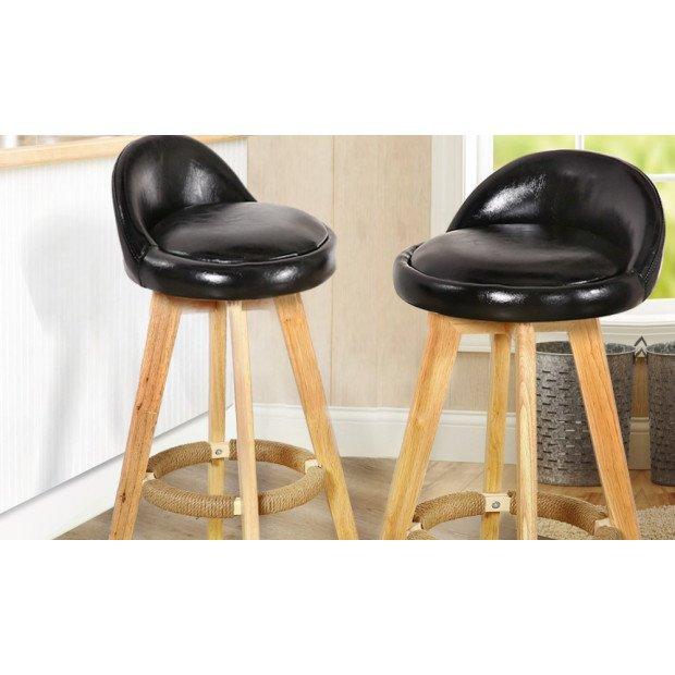 2 x Wooden Bar Stools Swivel Leather Seat Dining Chairs Kitchen Black