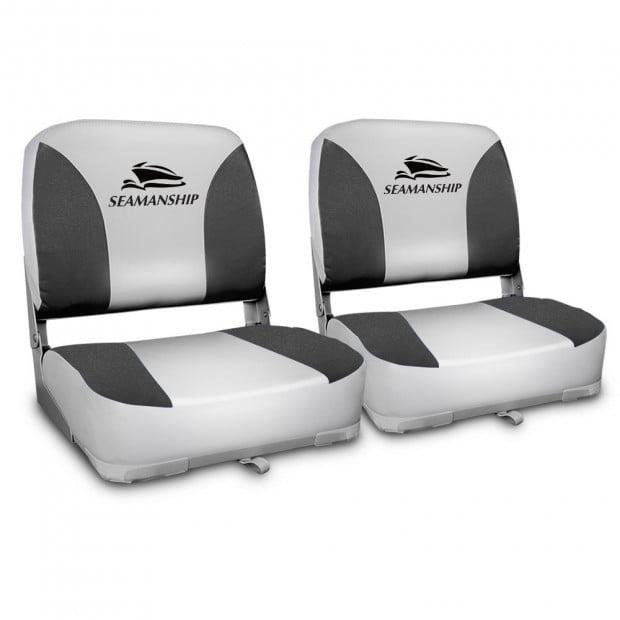 Set of 2 Swivel Folding Boat Seats - Grey