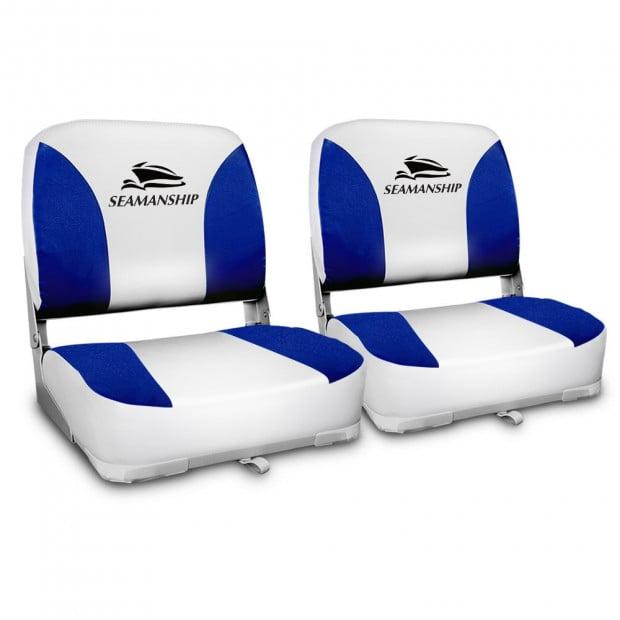 Set of 2 Swivel Folding Boat Seats - White & Blue