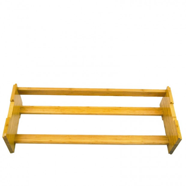 One Tier Stackable Bamboo Shoe Rack Image 2