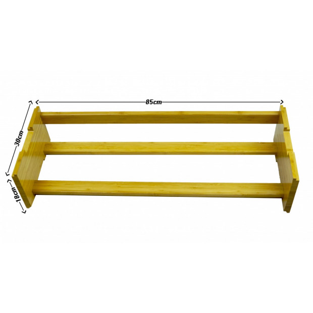 One Tier Stackable Bamboo Shoe Rack Image 3