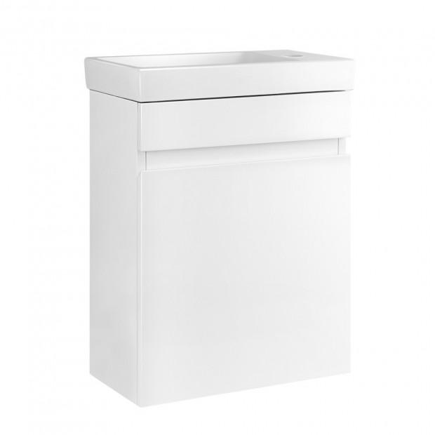 Bathroom Vanity Ceramic Basin Sink Cabinet Wall Hung White Image 1