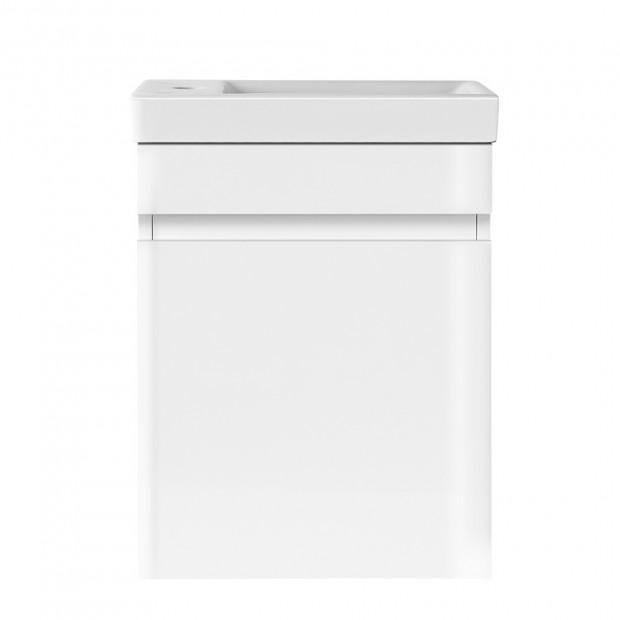 Bathroom Vanity Ceramic Basin Sink Cabinet Wall Hung White Image 2