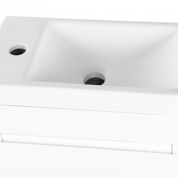 Bathroom Vanity Ceramic Basin Sink Cabinet Wall Hung White Image 3