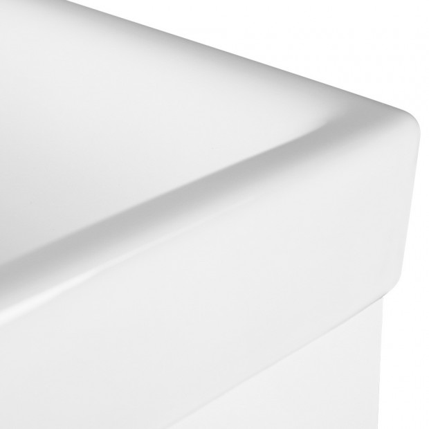 Bathroom Vanity Ceramic Basin Sink Cabinet Wall Hung White Image 6