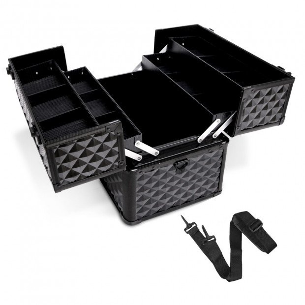 Portable Beauty Makeup Case Diamond Black