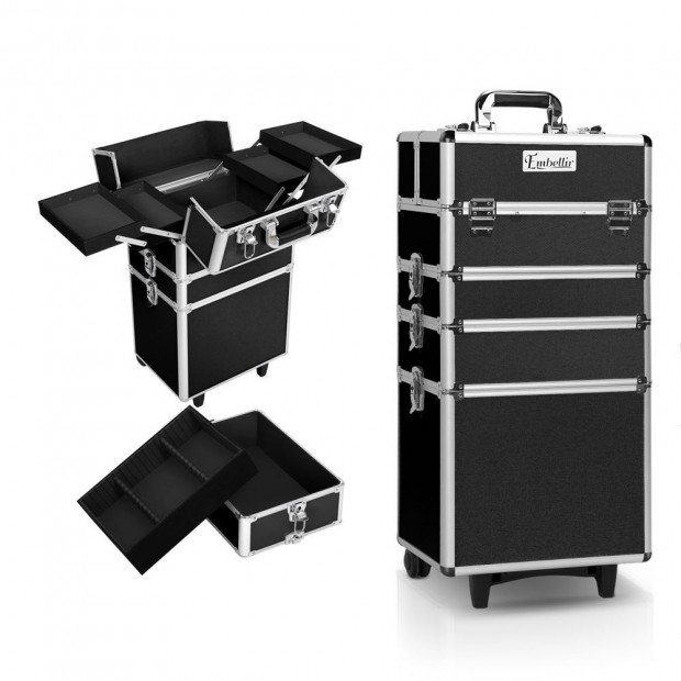 7 in 1 Portable Beauty Make up Cosmetic Trolley Case - Black