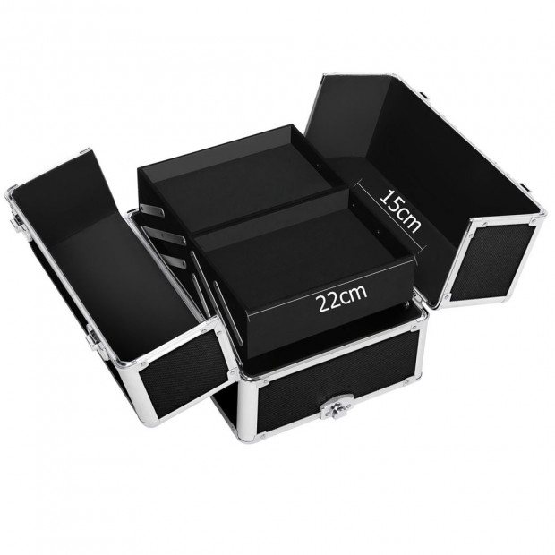 7 in 1 Portable Beauty Make up Cosmetic Trolley Case - Black Image 2