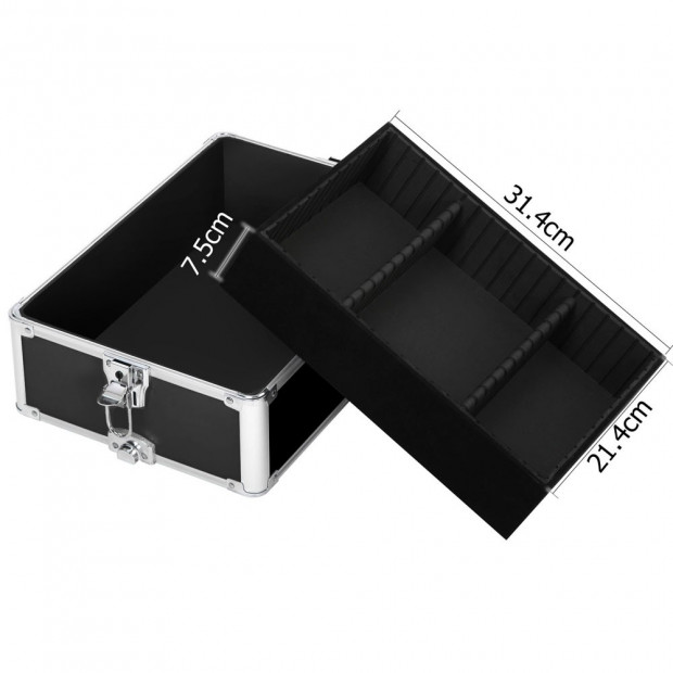 7 in 1 Portable Beauty Make up Cosmetic Trolley Case - Black Image 3