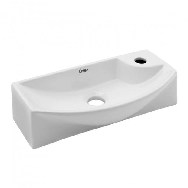 Ceramic Basin Bathroom 45 x 23cm White Image 1