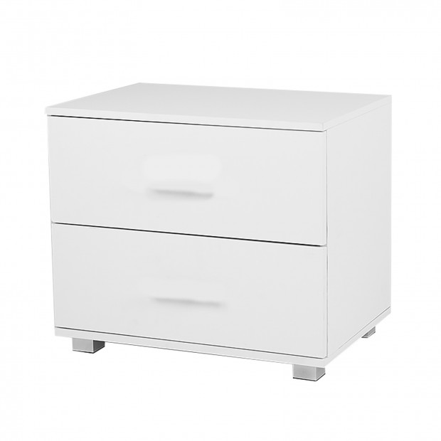 Bedside Table with Drawers MDF - White