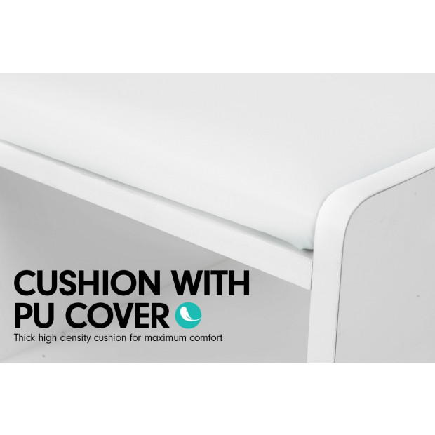 Shoe Rack Cabinet Organiser White Cushion - 80 x 30 x 45 - White Image 4