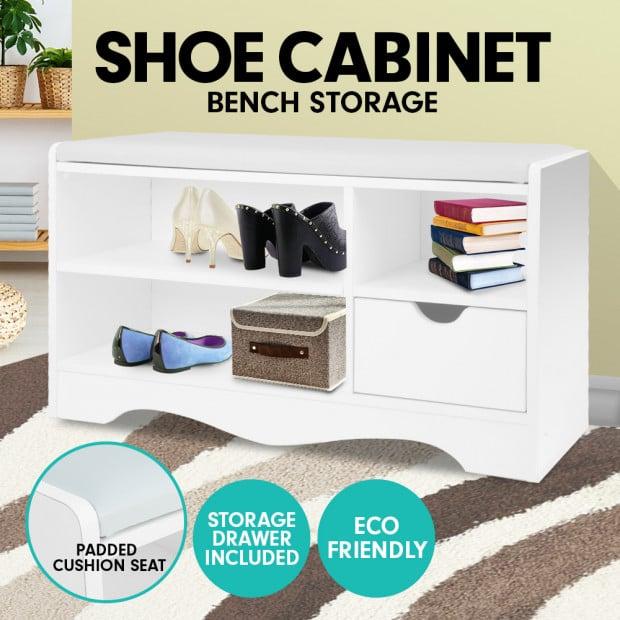 Shoe Rack Cabinet Organiser White Cushion - 80 x 30 x 45 - White Image 7