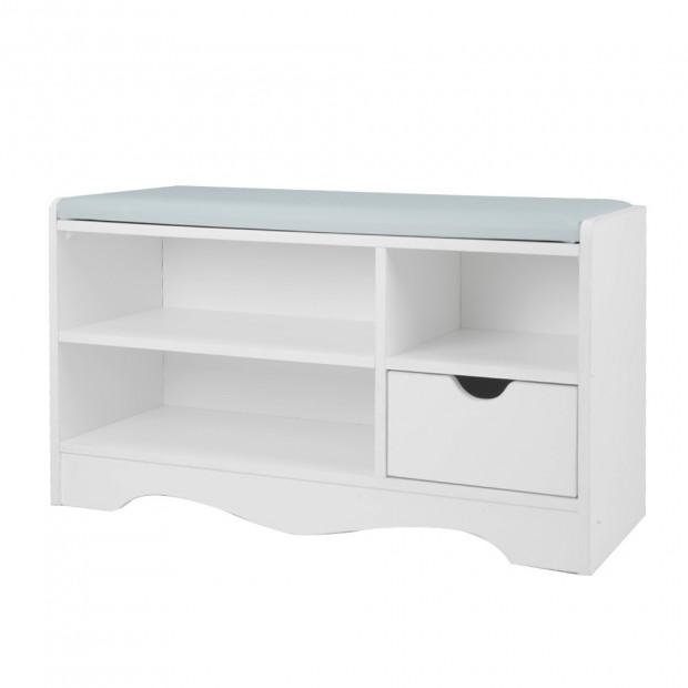 Shoe Rack Cabinet Organiser Grey Cushion - 80 x 30 x 45 - White Image 7